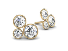 Pop diamond earrings - The power of three.  Yellow Gold