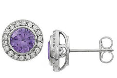 Classic Sterling Gemstone And Cubic Zirconia Halo Earrings - Unique Jewelry - Bostonian Jewelers Boston Jewelers