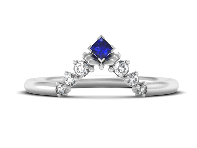 Unique Delicate Stacking Band-Princess Cut Sapphire And Diamond-Unique Boston Jewelers