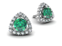 Trillion Diamond Halo Triangle Shape Halo Round Center Earrings White Gold Available In Emerald Sapphire Aqua And Diamond Bostonian Jewelers Boston Jewelers
