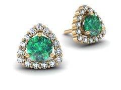 Trillion Emerald and Diamond Halo Earrings Yellow Gold