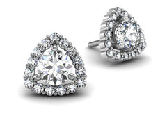 Trillion Diamond Halo Earrings White Gold