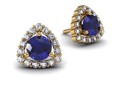 Trillion Sapphire and Diamond Halo Earrings Yellow Gold