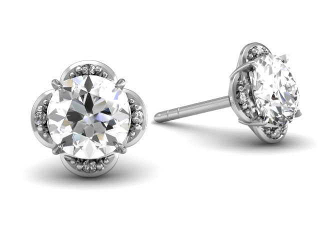 Tristan Earrings - Platinum - Diamond - Custom Design Boston