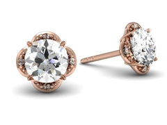 Tristan Earrings - Rose Gold - Diamond - Custom Design Boston