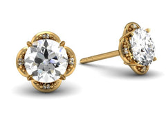 Tristan Halo Earrings - Platinum - Diamond - Floral Halo Custom Design Bostonian Jewelers Boston Jeweler