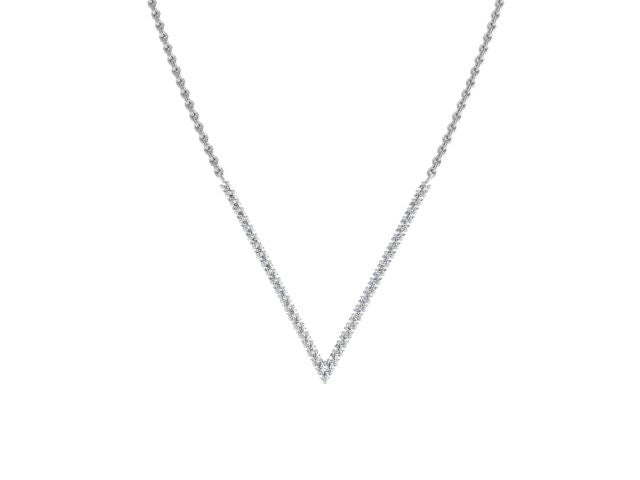 Slim Pave V Pendant Necklace