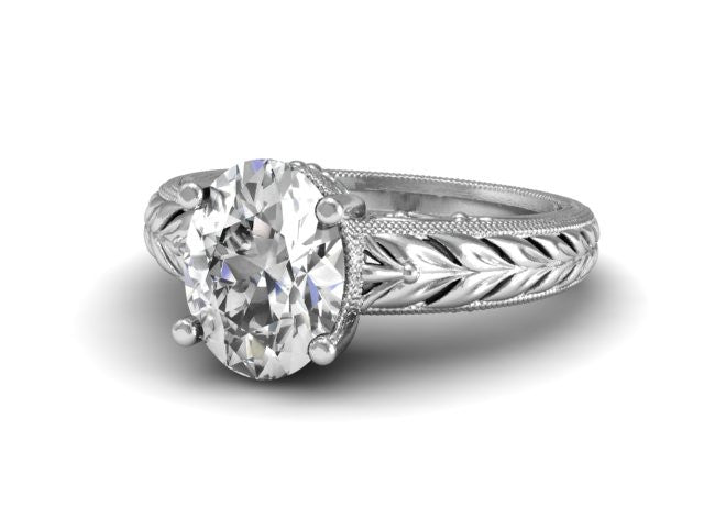 Detailed Oval Solitaire With Wheat Pattern and Scrolling Unique Engagement Ring Boston Jeweler