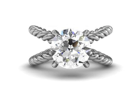 XX Twisted Solitaire Custom Engagement Ring