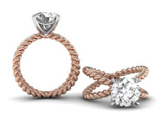 Twisted Double Band Engagement Ring - Custom Design - Bostonian Jewelers