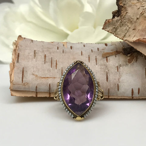 Antique Amethyst and Pearl Ring