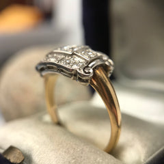 Art Deco Antique Vintage Diamond Ring Platinum And Yellow Gold With European Cut Diamonds Boston Jewelers