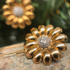 Handmade Flower drop Earrings  - Unique Custom Jewelry - Bostonian Jewelers