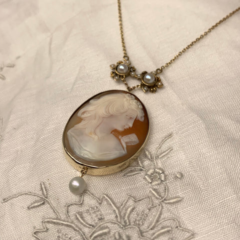 Victorian Cameo and Seed Pearl Necklace