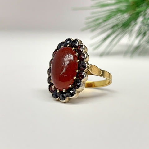 Arts and Crafts Carnelian and Garnet Ring