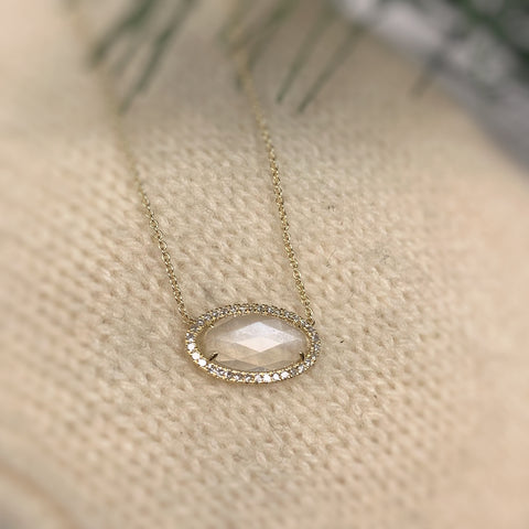 Rose Cut Moonstone Diamond Halo Necklace