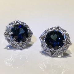 Sapphire Diamond Art Deco Style Halo Stud Earrings Unique And Unusual Made By Boston Jewelers