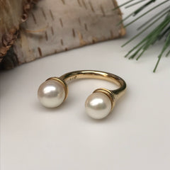 Double Pearl Open Ring