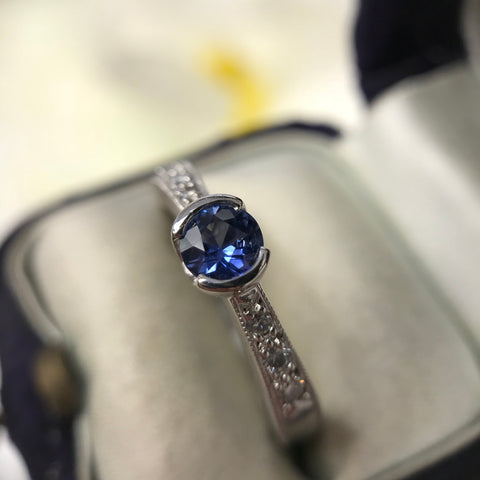 Blue Moon Sapphire and Diamond Ring