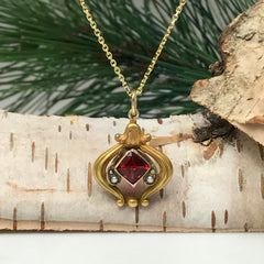 Victorian Garnet And Seed Pearl Pendant Necklace