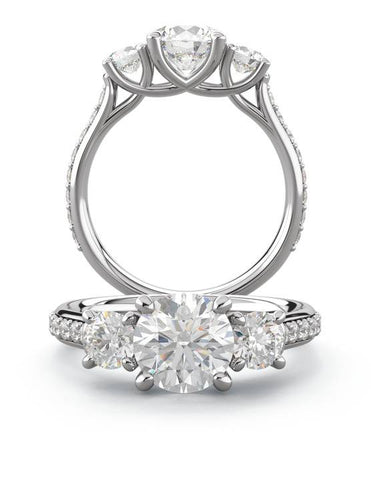 Trellis Three Stone with Pave Diamonds