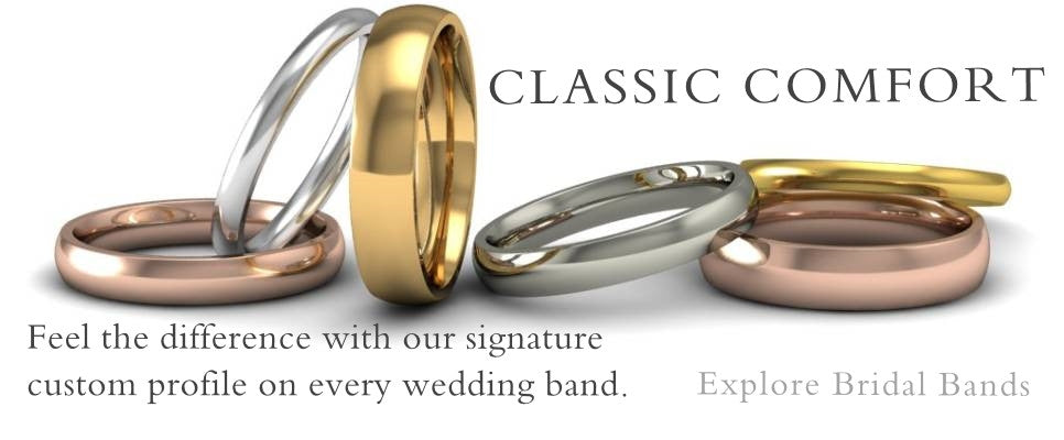 Explore our polished wedding bands