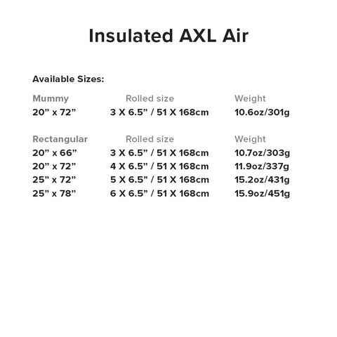 Insulated AXL Air Specifications