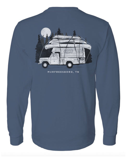 Murfreesboro Camper Long Sleeve - Denim  Tops Hook 1 Outfitters - Hook 1 Outfitters/Kayak Fishing Gear