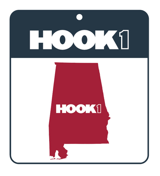 Alabama State Decal Maroon / White Accessories Hook 1 Outfitters - Hook 1 Outfitters/Kayak Fishing Gear
