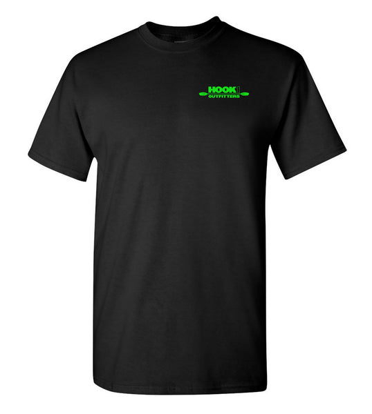 Hook 1 Lime Green Paddle Logo Black T-Shirt  Tops Hook 1 Outfitters - Hook 1 Outfitters/Kayak Fishing Gear