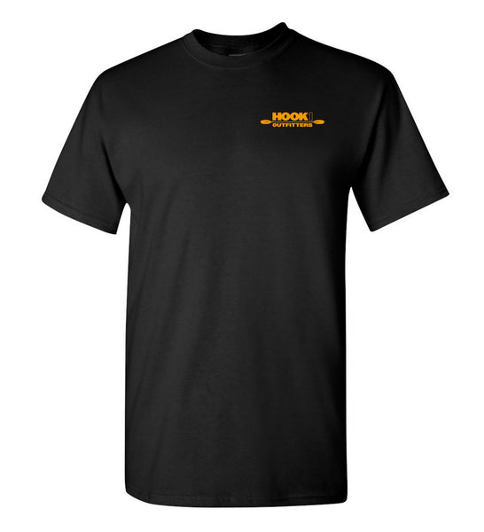 Hook 1 Orange Paddle Logo Black T-Shirt  Tops Hook 1 Outfitters - Hook 1 Outfitters/Kayak Fishing Gear