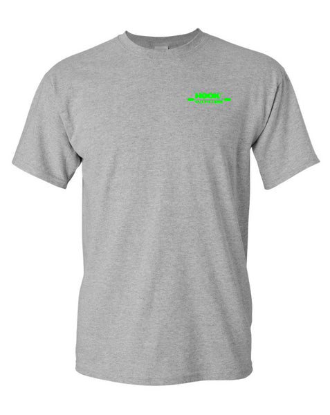 Hook 1 Lime Green Paddle Logo Grey T-Shirt  Tops Hook 1 Outfitters - Hook 1 Outfitters/Kayak Fishing Gear