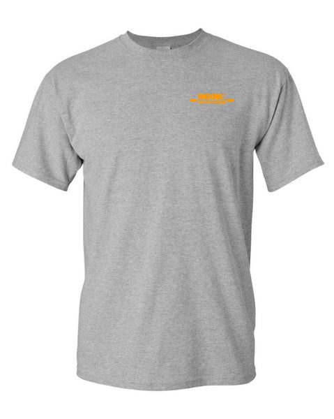 Hook 1 Orange Paddle Logo Grey T-Shirt  Tops Hook 1 Outfitters - Hook 1 Outfitters/Kayak Fishing Gear