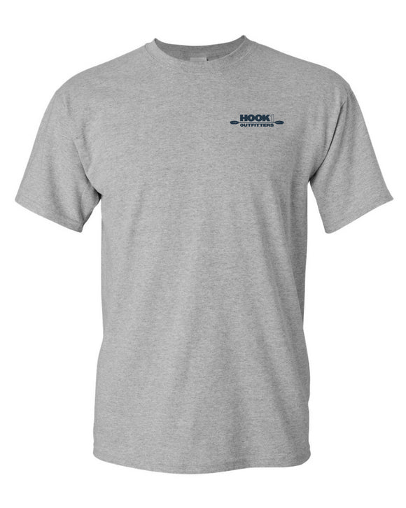 Hook 1 Slate Blue Paddle Logo Grey T-Shirt  Tops Hook 1 Outfitters - Hook 1 Outfitters/Kayak Fishing Gear