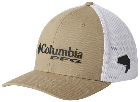 PFG Mesh Ball Cap Tusk, Black with Bass  Hats Columbia - Hook 1 Outfitters/Kayak Fishing Gear