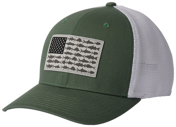 PFG MESH  BALL CAP THYME GREEN FISH FLAG  Hats Columbia - Hook 1 Outfitters/Kayak Fishing Gear