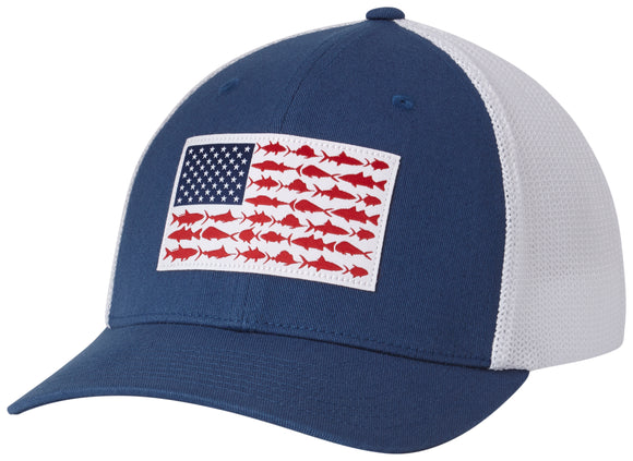 PFG MESH BALL CAP NIGHT TIDE / FISH FLAG  Hats Columbia - Hook 1 Outfitters/Kayak Fishing Gear