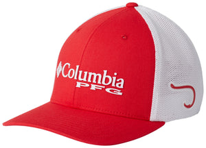 PFG Mesh Ball Cap Mountain Red, White with Fish Hook  Hats Columbia - Hook 1 Outfitters/Kayak Fishing Gear