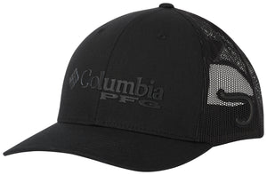 PFG Mesh Snap Back Ball Cap Black, Hook  Hats Columbia - Hook 1 Outfitters/Kayak Fishing Gear