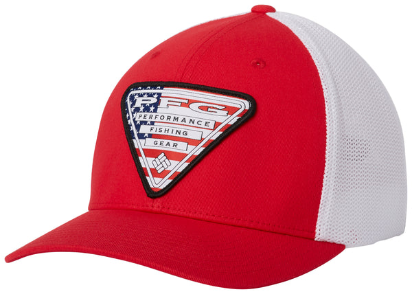 PFG Mesh Stateside Ball Cap Mountain Red, USA Triangle  Hats Columbia - Hook 1 Outfitters/Kayak Fishing Gear