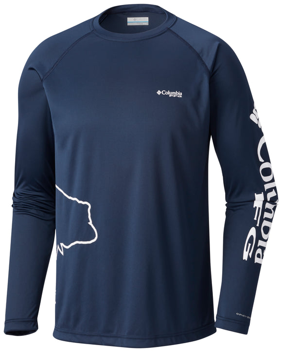 PFG Fish Series™ Terminal Tackle™ Long Sleeve - CLOSEOUT Collegiate Navy - CLOSEOUT / S Tops Columbia - Hook 1 Outfitters/Kayak Fishing Gear
