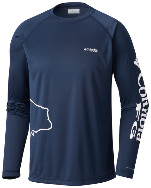 PFG Fish Series™ Terminal Tackle™ LS Collegiate Navy - CLOSEOUT / S Tops Columbia - Hook 1 Outfitters/Kayak Fishing Gear