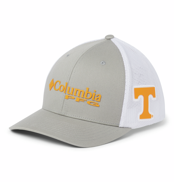 Collegiate PFG Mesh™ Ball Cap - Tennessee - Light Grey  Hats Columbia - Hook 1 Outfitters/Kayak Fishing Gear