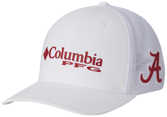 Collegiate PFG Mesh™ Ball Cap - Alabama - White  Hats Columbia - Hook 1 Outfitters/Kayak Fishing Gear