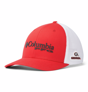 Collegiate PFG Mesh™ Ball Cap - UGA - Bright Red  Hats Columbia - Hook 1 Outfitters/Kayak Fishing Gear