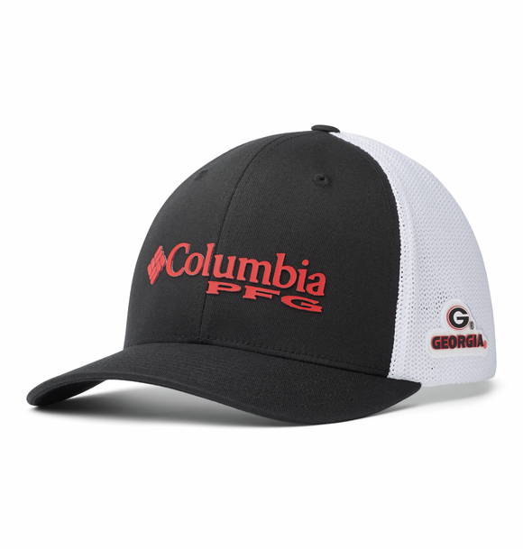 Collegiate PFG Mesh™ Ball Cap - UGA - Black  Hats Columbia - Hook 1 Outfitters/Kayak Fishing Gear