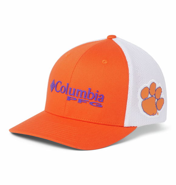 Collegiate PFG Mesh™ Ball Cap - Clemson - Spark Orange  Hats Columbia - Hook 1 Outfitters/Kayak Fishing Gear