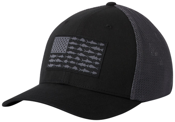 PFG Mesh Fish Flag Ball Cap Black, Graphite  Hats Columbia - Hook 1 Outfitters/Kayak Fishing Gear