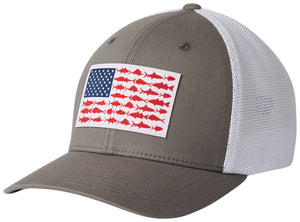 PFG Mesh Fish Flag Ball Cap Titanium, White  Hats Columbia - Hook 1 Outfitters/Kayak Fishing Gear