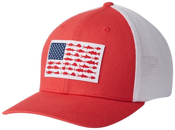 PFG Mesh Fish Flag Ball Cap Sunset Red, White Fish Flag  Hats Columbia - Hook 1 Outfitters/Kayak Fishing Gear